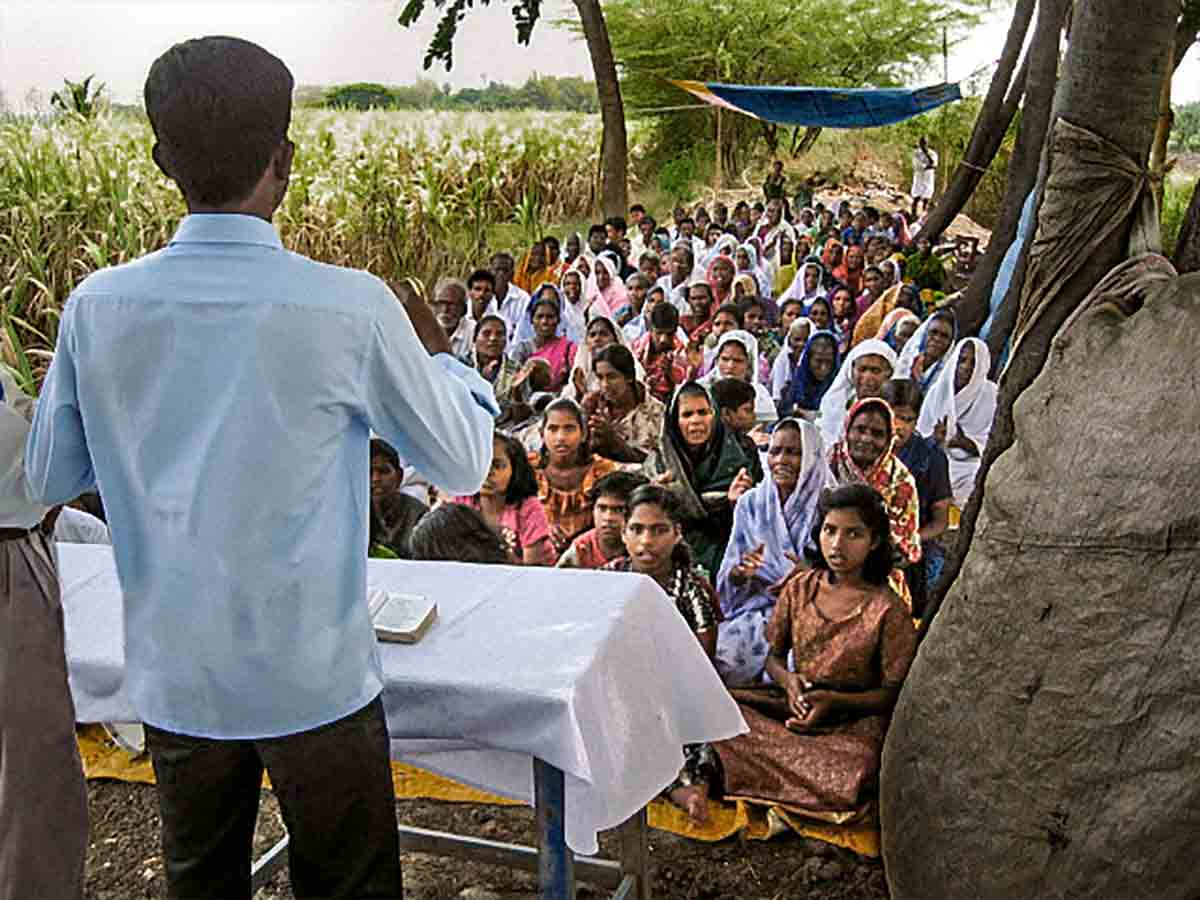 Some village churches in India meet in the open air.