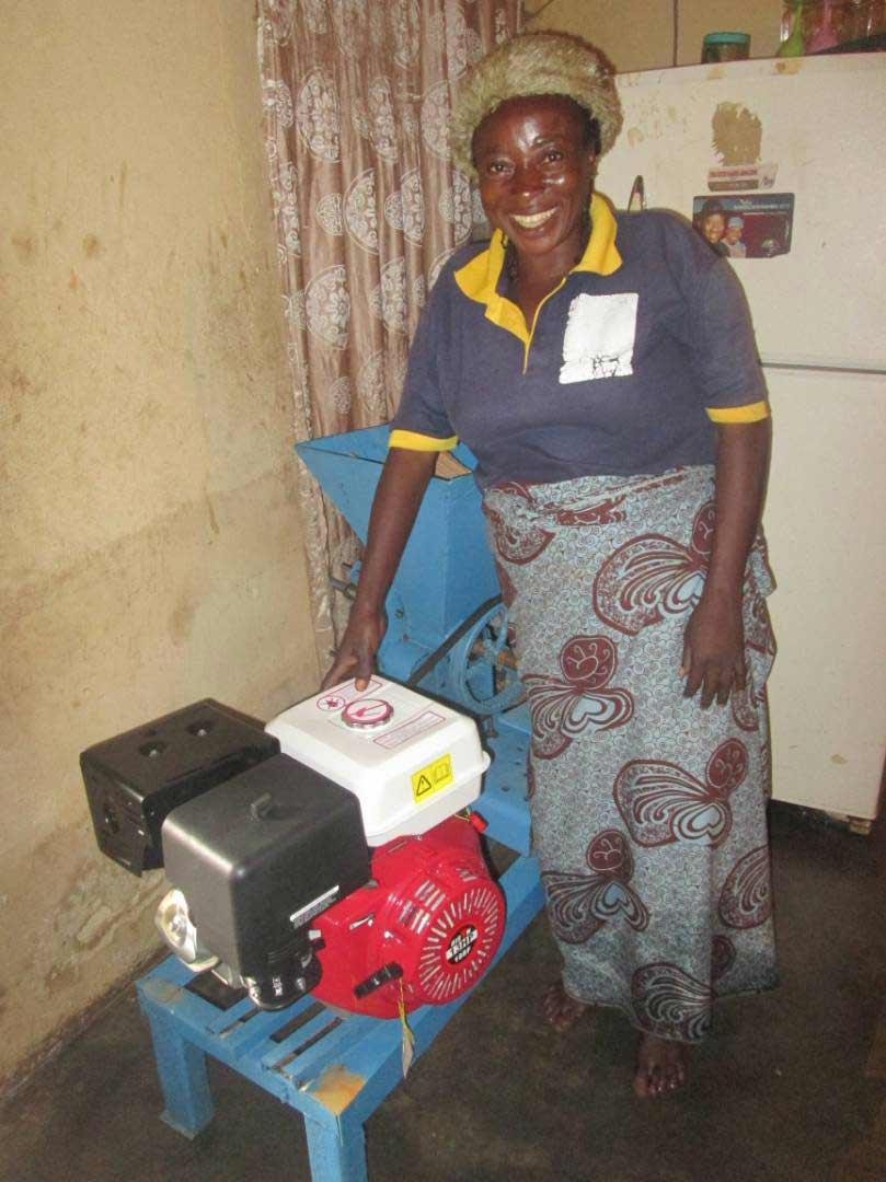 Hasina was overjoyed when she received the gift of a grinding machine.