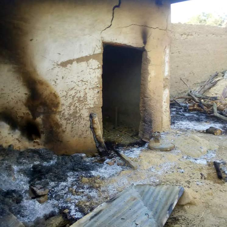 One of the homes burned by Islamists in Cameroon.