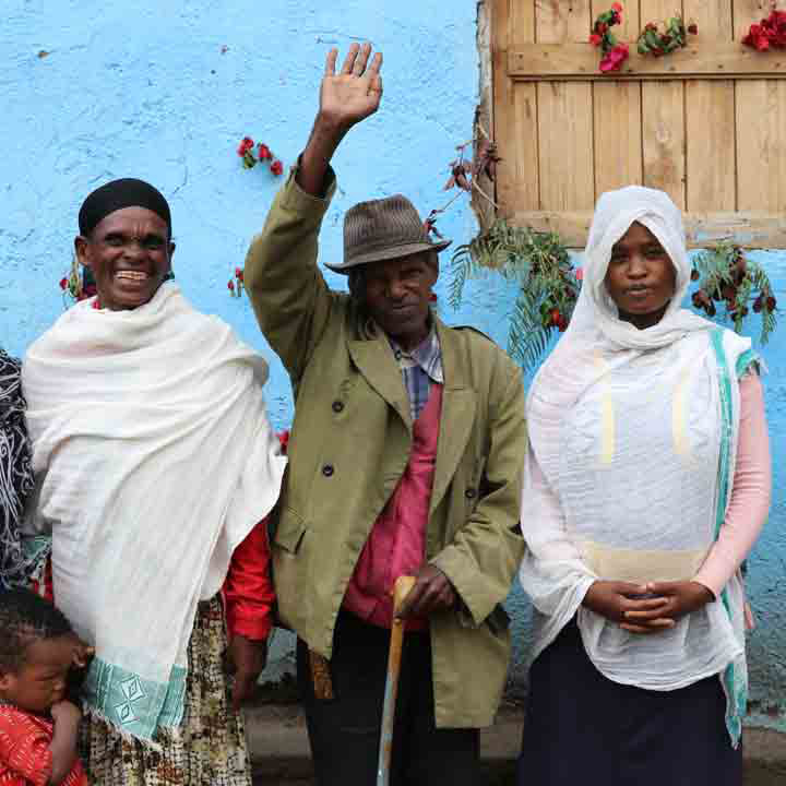 Ethiopian believers in front of one of the newly constructed homes.