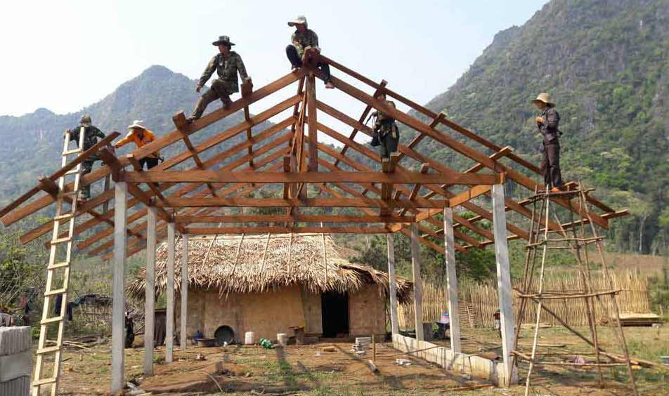 A house church in Laos is constructed