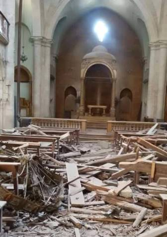 A Syrian church was destroyed in recent attacks by rebels.