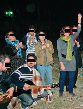 House churches in Iran must meet secretly like these believers did for worship in a park.