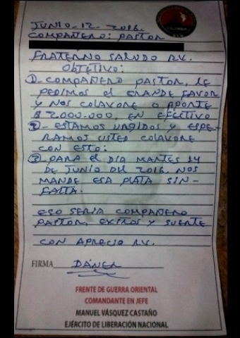"Nine pastors in Colombia received a note like this from a violent rebel group demanding ""protection money"""