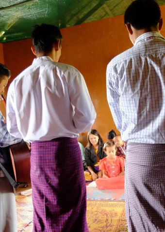 Frontline workers meet with local believers in Myanmar.