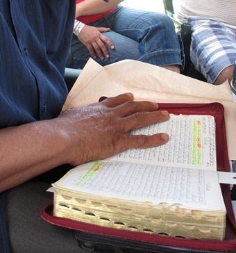 A small group of believers reads and studies the Bible in Morocco.