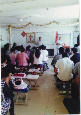 Chinese believers gather together to study the Word of God.