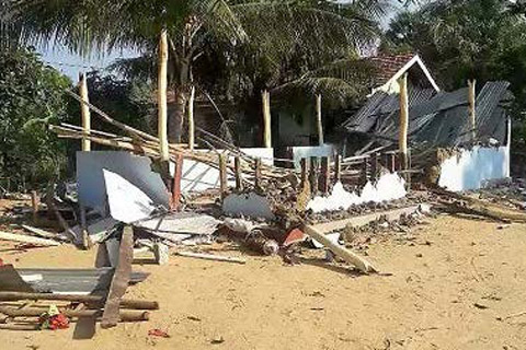 The Kithu Sevana prayer center in northwestern Sri Lanka was destroyed by a mob on Jan. 5, 2017. (Photo: World Watch Monitor)